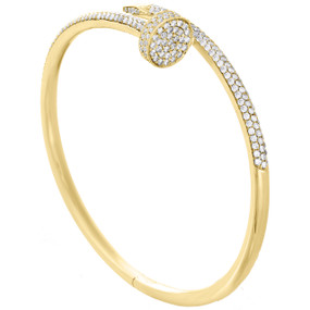 14K Solid Yellow Gold Round Diamond Nail Bangle Size 20cm Unisex Bracelet 2 CT.