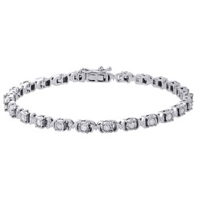 ".925 Sterling Silver Fanuk Bezel Set Diamond Mom Tennis Link Bracelet 7.25"" 1 Ct"