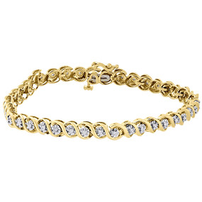 "10k Yellow Gold Round Cut Diamond Fashion S-Link Tennis Bracelet 7.25"" 0.50 Ct."