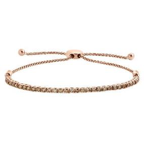 "10K Rose Gold Genuine Brown Diamond Prong Set Tennis Bolo Bracelet 10"" - 2 CT."