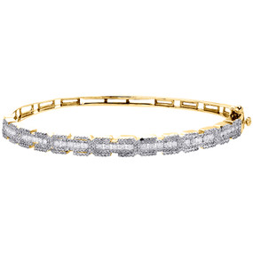 14K Yellow Gold Real Round Diamond Cluster Bangle Channel Set Bracelet 2.20 CT.
