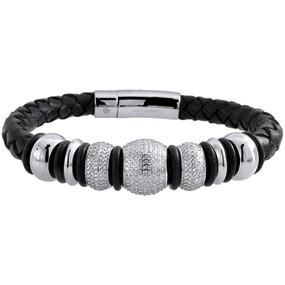 Diamond Beaded Ball Bracelet Arctica Mens Leather Strand Stainless Steel 3.75 Ct