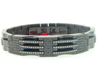Mens Stainless Steel 1.75 ct. Genuine Black / White Diamond Bracelet Bangle Link