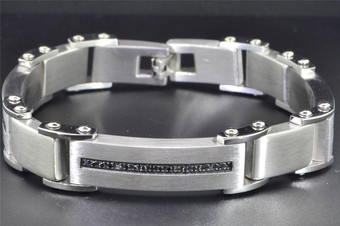 Black Diamond Mens Stainless Steel Bracelet Brushed Fashion Link 0.50 ct.