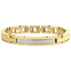Mens 0.65 ct White Diamond Yellow Stainless Steel Bracelet Bangle Link Arctica