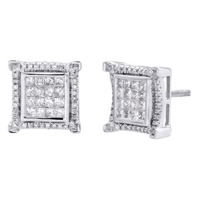 10K White Gold Princess Cut Diamond Square Tier Halo Frame Earrings Studs 1 CT.