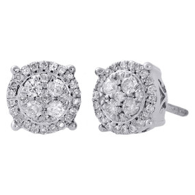 10K White Gold Diamond Circle Studs Small 8.15mm Halo Cluster Earrings 0.50 Ct.