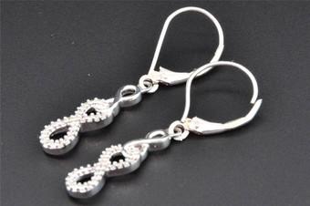 .925 Sterling Silver Baguette Diamond Hoops 0.45 Long Ladies Earrings 0.15 Ct.