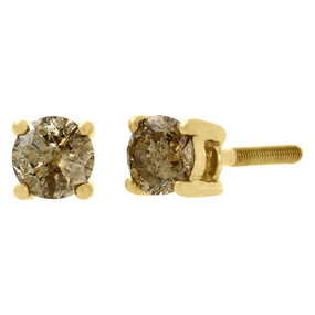 10K Yellow Gold Ladies Solitaire Brown Champagne Diamond Studs Earrings 0.50 Ct.