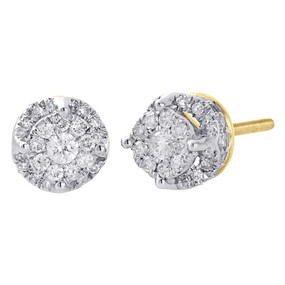 10K Yellow Gold Real Diamond Round Halo Cluster Studs 6.75mm Earrings 0.50 Ct.