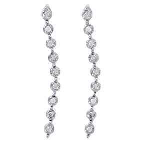 "10K White Gold Diamond Dangler Fanuk Set 0.74"" Long Journey Earrings 1/20 Ct."