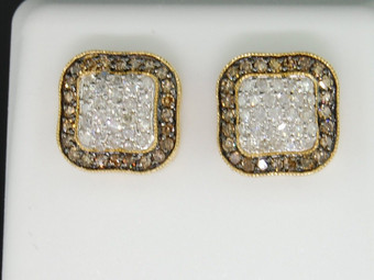 10K MENS LADIES YELLOW GOLD 1 CT CHAMPAGNE BROWN DIAMOND SQUARE EARRINGS STUDS