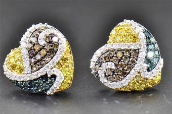 1.24 CT Blue, Brown & Yellow Diamond Heart Shape Studs 10K White Gold Earrings