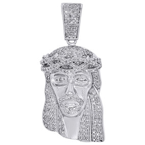"10K White Gold Diamond Mini Jesus Face Piece Pendant 1.70"" Mens Pave Charm 1 ct."