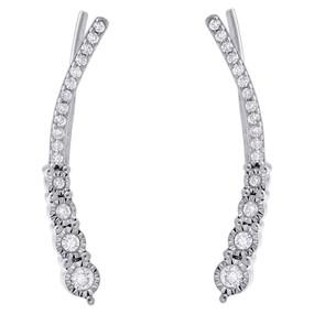 .925 Sterling Silver Diamond Ear Climbers Graduated Stones Earrings 0.25 CT.