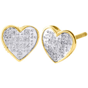 10K Yellow Gold Diamond Heart Studs Ladies Mini 7.65mm Earrings Pave Set 0.05 Ct