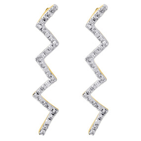 10K Yellow Gold Ladies Round Diamond Dangle Zig Zag Lightning Earrings 0.17 Ct.