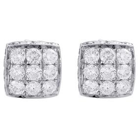 10K White Gold 3D Square Real Diamond Domed Stud Earrings Mens & Ladies 1.85 Ct.