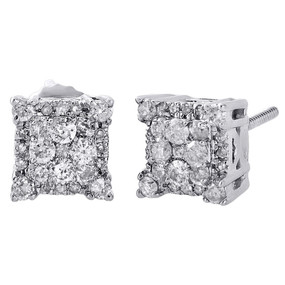 10K White Gold Genuine Diamond Halo Cluster 4-Prong Studs 7.25mm Earrings 1/2 Ct