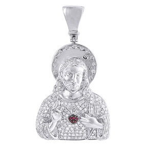 10K White Gold Diamond Pendant Sacred Heart of Jesus Created Ruby Charm 0.85 Ct.