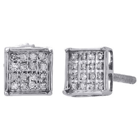 .925 Sterling Silver Diamond Studs Mini 6.30mm Square 4 Prong Earrings 0.10 Ct.