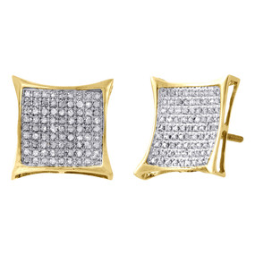 10K Yellow Gold Real Diamond Pave Studs Small 13.40mm Kite Earrings 0.50 Ct.