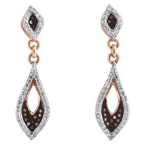 10K Rose Gold Red Diamond Teardrop Danglers Pointed Oval Earrings 0.33 Ct.