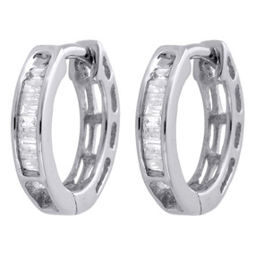 ".925 Sterling Silver Baguette Diamond Hoops 0.45"" Long Ladies Earrings 0.15 Ct."