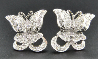 Butterfly Diamond Studs 10K White Gold 0.35 Ct. Round Cut Pave Earrings