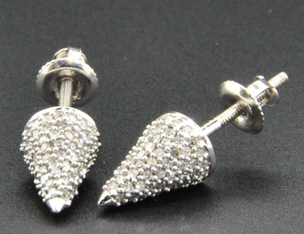 Bullet Cone Shape Diamond Studs 10K White Gold 0.45 Ct. Round Cut Pave Earrings