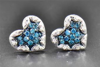 0.25 CT Blue Diamond Studs Heart Love Shape 10K White Gold Designer Earrings