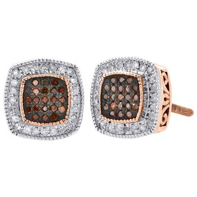 10K Rose Gold Red Diamond Studs Ladies 8.85mm Square Halo Earrings 0.25 Ct.