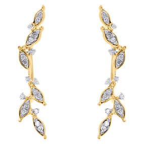 "10K Yellow Gold Diamond Ear Climbers Leaf Design Earrings 1"" Long 0.20 CT."
