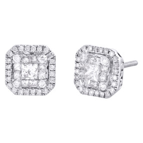 14K White Gold Round & Princess Cut Diamond Double Halo Studs Earrings 3/4 CT.
