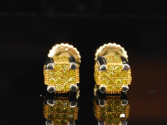 10K MENS LADIES WHITE GOLD YELLOW DIAMOND PAVE STUDS EARRINGS 3-D CUBES SQUARES