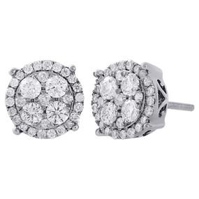 10K White Gold Diamond Circle Studs Cluster 9.60mm 4 Prong Earrings 1 Ct.