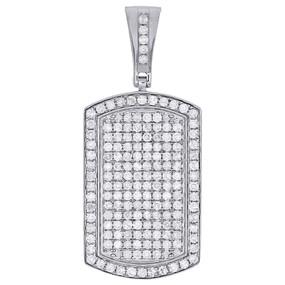 "10K White Gold Genuine Round Diamond Dog Tag Pendant 1.60"" Mens Pave Charm 2 ct."