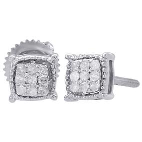 10K White Gold Diamond Stud 4 Prong Milgrain Edge Square 5.40mm Earrings 1/10 Ct