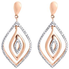10K Rose Gold Moving Petal Shape Diamond Dangle Drop Fashion Earrings 0.40 Ct.