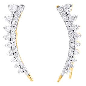 "10K Yellow Gold Diamond Ear Climbers Graduated Stone Earrings 1"" Long 1 CT."