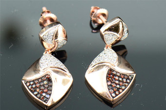 Red Diamond Danglers Ladies 10K Rose Gold Round Pave Earrings 1/3 Tcw.