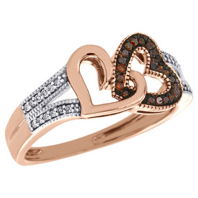 10K Rose Gold Red Diamond Right Hand Double Heart Ladies Cocktail Ring 1/6 Ct.