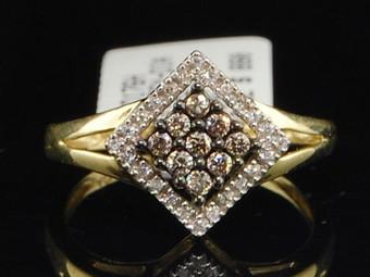 10K LADIES YELLOW GOLD 0.25 CT CHAMPAGNE BROWN DIAMOND ENGAGEMENT WEDDING RING