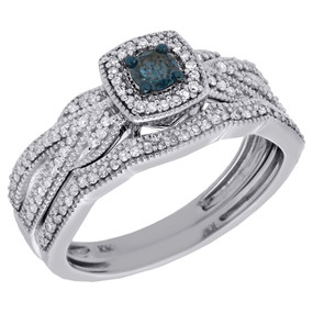 10K White Gold Solitaire Blue Diamond Halo Engagement Ring Bridal Set 0.40 Ct.