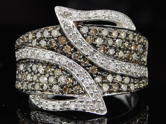 LADIES 10K WHITE GOLD Champagne BROWN 1 CT DIAMOND LEAF RING ENGAGEMENT BAND