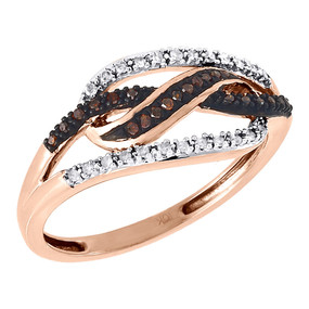 Red Diamond Cocktail Ring Ladies 10K Rose Gold Round Pave Fashion Band 0.15 Tcw.
