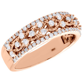 10K Rose Gold Diamond Filigree Waved Ladies Anniversary Ring Wedding Band 1/2 Ct