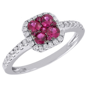 Diamond Genuine Red Ruby Cocktail Ring 14K White Gold Square Design 0.67 Tcw.