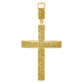 10K Yellow Gold Genuine Diamond Domed Cross Jesus 2 Inch Pendant Charm 0.67 Ct.