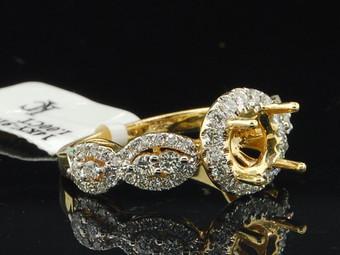Diamond Semi Mount Infinity Engagement Ring 14k Yellow Gold Wedding Bridal 1 Ct.